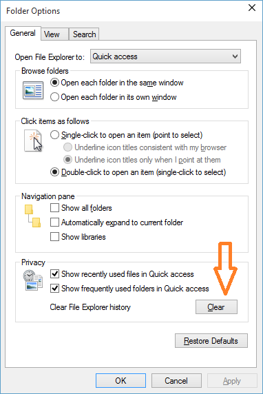 How to clear frequent folders and recent files history from Quick