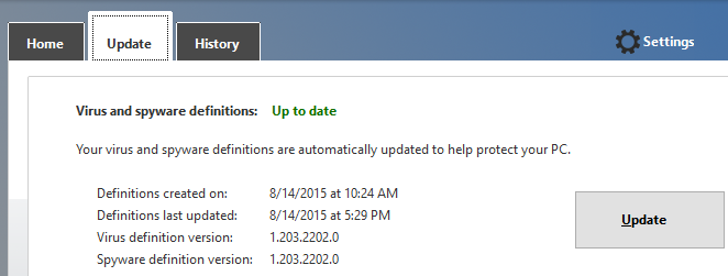 update tab in Windows Defender