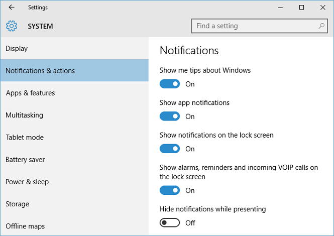 Notifications and actions screen