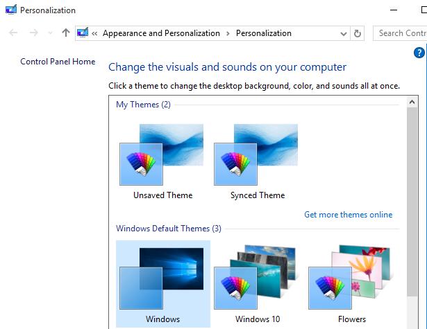theme selection screen
