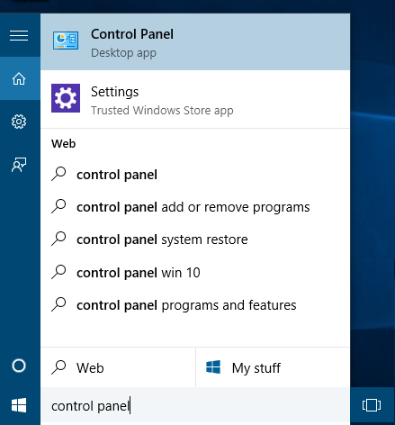 open control panel from cortana search results