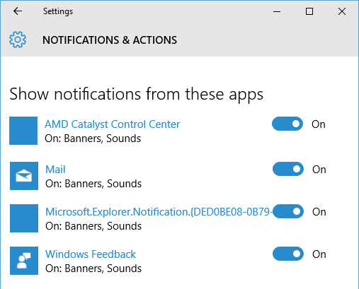 application specific notification settings