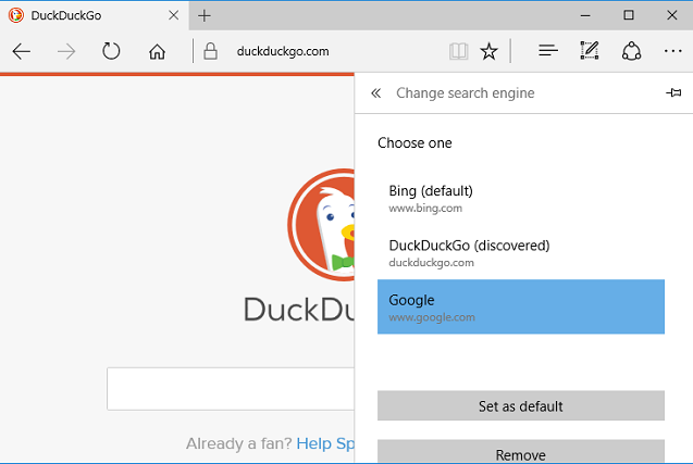 set default search engine as Google