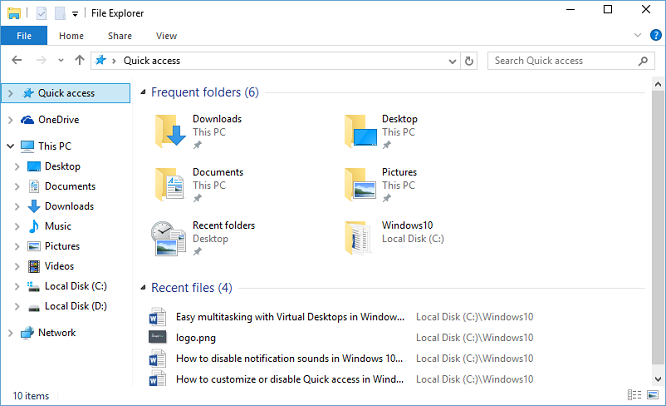 How to customize or disable Quick access in Windows 10