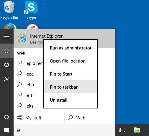 internet explorer pin to taskbar