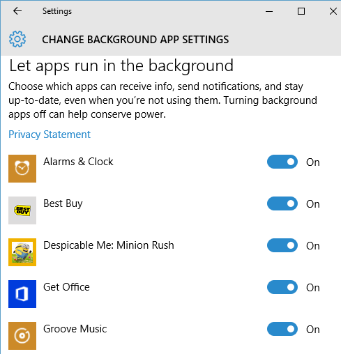 How to enable or disable background apps in Windows 10