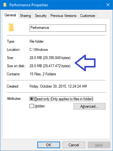 folder properties window with size details