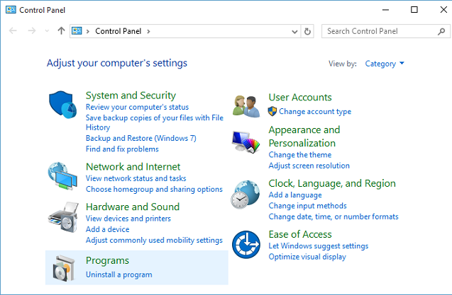 Control panel uninstall a program