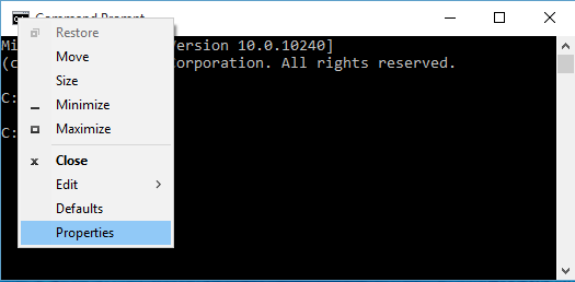 open command prompt properties