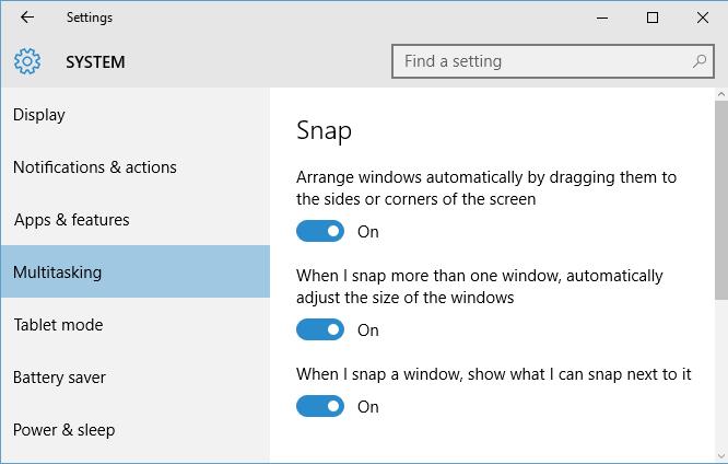 Customizing Snap settings